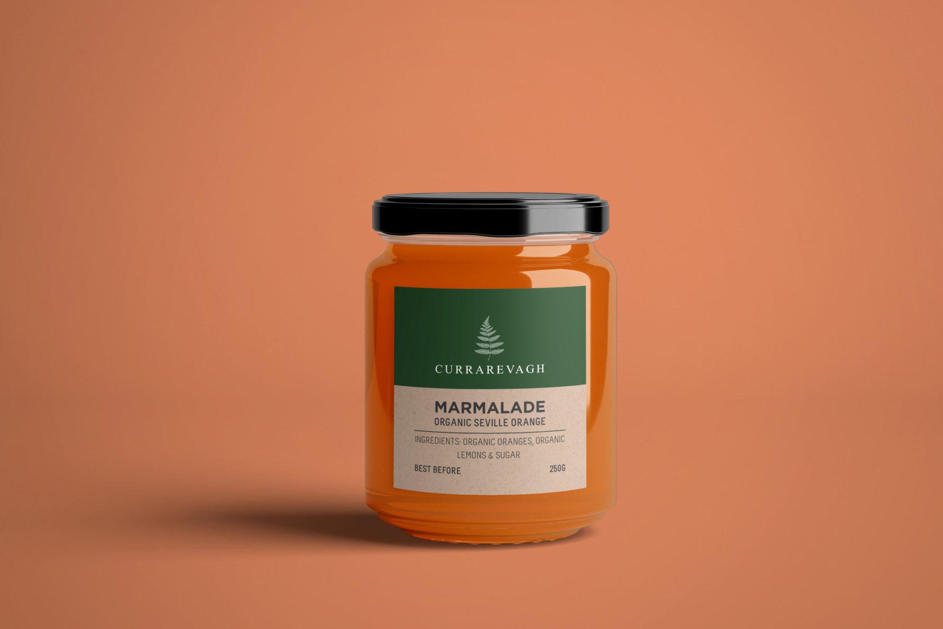 Marmalade label design for Currarevagh