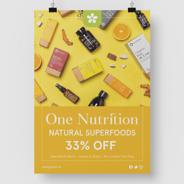 Poster design for Evergreen Healthfoods Galway
