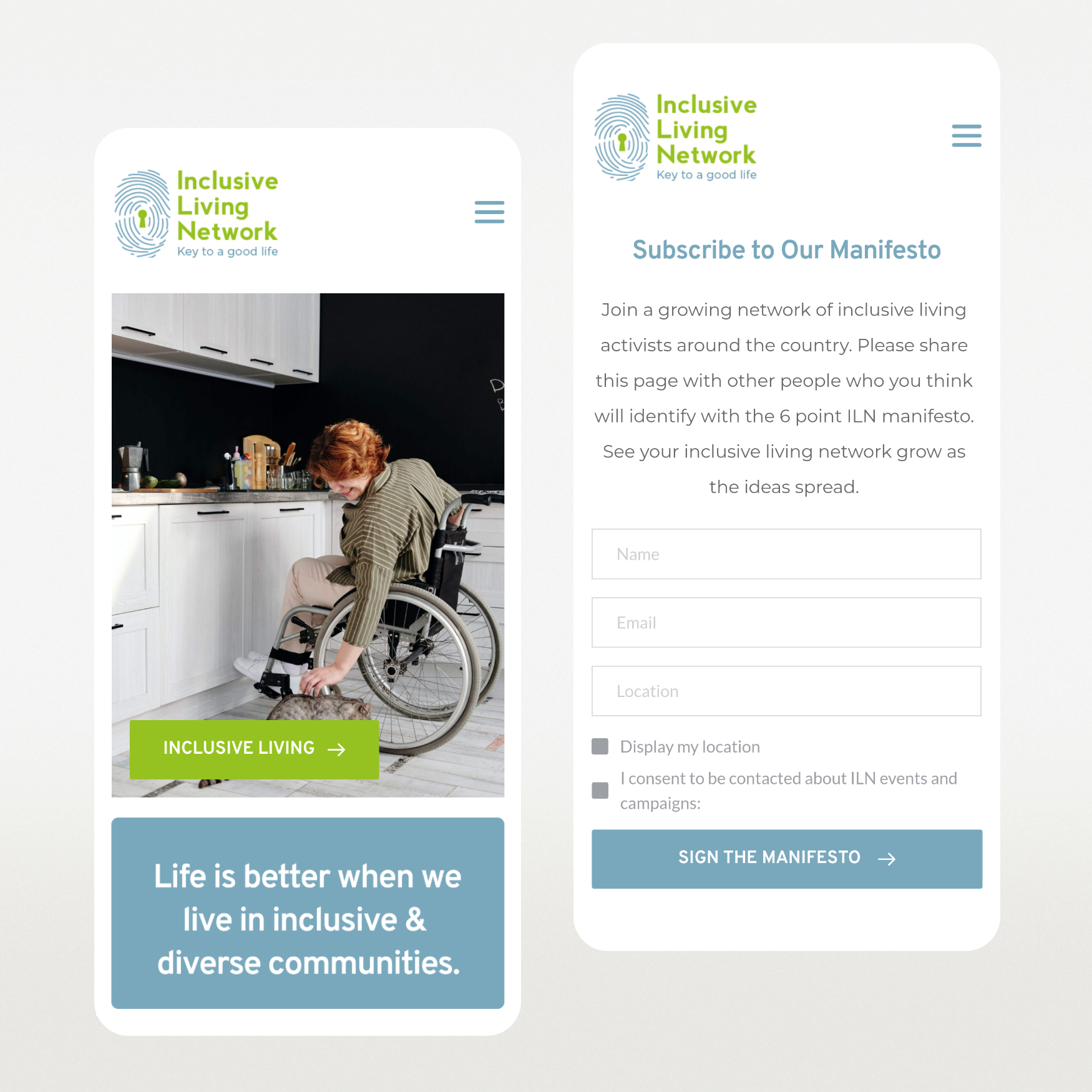 Website design for Inclusive Living Network Galway